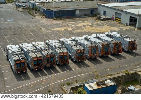 Ramsgate, United Kingdom - May 4, 2021: Bin Lorries Parked In Ramsgate Port. Nine Refuse Collection