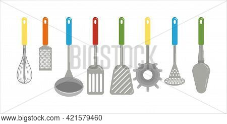 Set Of Different Kitchen Spatulas And Spoons, Towel, Grater, Whisk, , Vector Clipart In Cartoon Styl