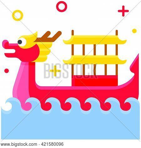 Dragon Boat Icon, Dragon Boat Festival Related Vector Illustration