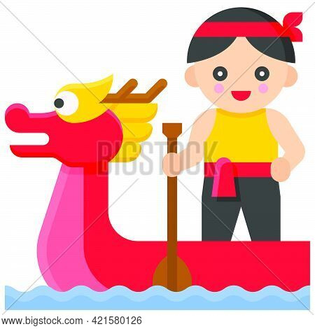 Dragon Boat Paddling Icon, Dragon Boat Festival Related Vector Illustration