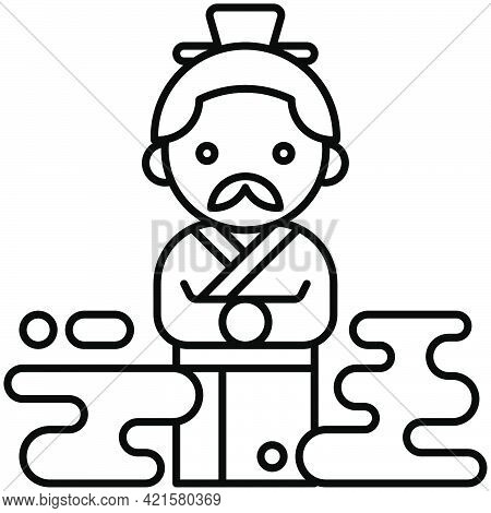 Chinese Poet And Politician Icon Dragon Boat Festival Related Vector Illustration