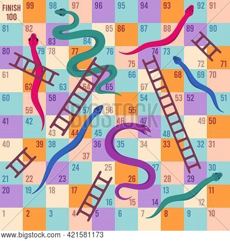 Snakes And Ladders. Kids Dice Board Game. Climbing Puzzle Map For Children Play Activity. Fun Travel