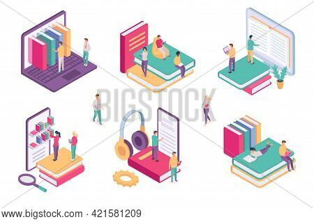 Isometric Online Library. Ebook Dictionary Digital Archive For Student. School Book On Phone Or Comp