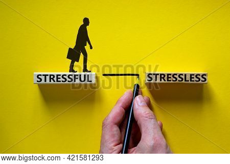 Stressful Or Stressless Symbol. Blocks With Words Stressful, Stressless. Yellow Background. Business