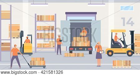 Warehouse Interior. Rack And Shelf With Parcel Boxes, Workers And Forklift With Goods. Wholesale Sto