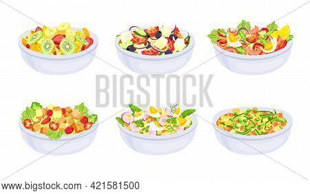 Salad Dishes. Bowl With Fresh Healthy Vegetable Slices. Greek, Fruit Salad And Caprese. Vegetarian D