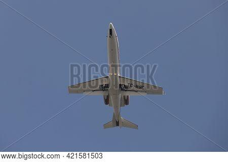 Istanbul, Turkey - February 27, 2021: Redstar Aviation Bombardier Learjet 45 (cn 45-432) Landing To