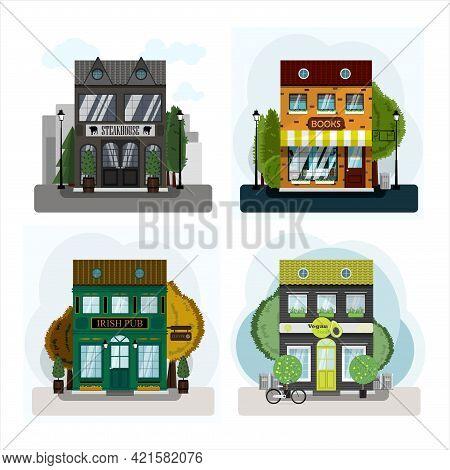 Irish Pub Exterior Vector Illustration. Flat Design Of Facade. Beer House Building Concept. Emerald