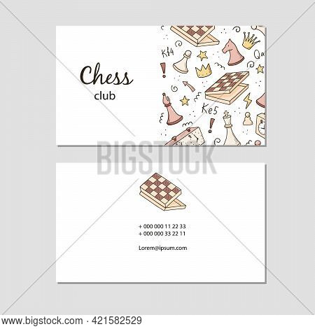 Visit Card With Cartoon Chess Game Elements. Doodle Sketch Style. Illustration For Chess Club, Tourn