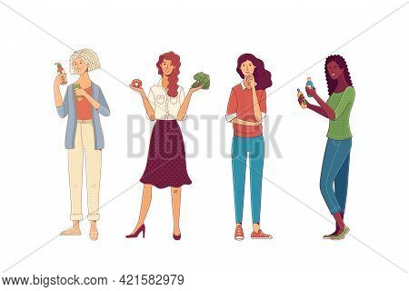 Women Comparing, Choosing, Pointing, And In Doubt Gesture