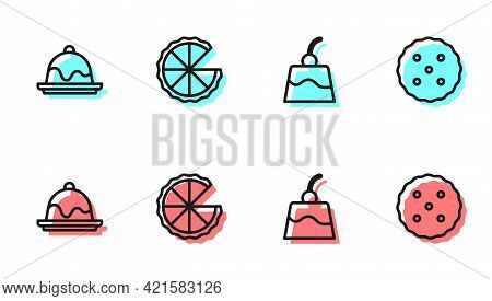 Set Line Pudding Custard, Cake, Homemade Pie And Cookie Or Biscuit Icon. Vector