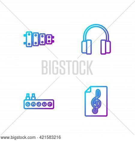 Set Line Treble Clef, Sound Mixer Controller, Xylophone And Headphones. Gradient Color Icons. Vector