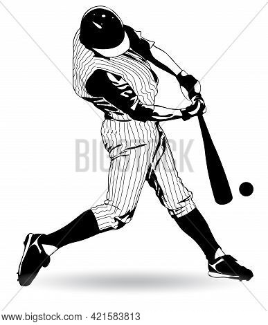 Black And White Image Of A Baseball Player Hitting The Ball