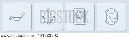 Set Line Sunbed And Umbrella, Passport, Anchor And Airplane Window. White Square Button. Vector