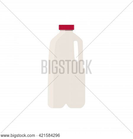Flat Vector Illustration Of Milk In Plastic Half Gallon Jug With Red Cap. Isolated On White Backgrou