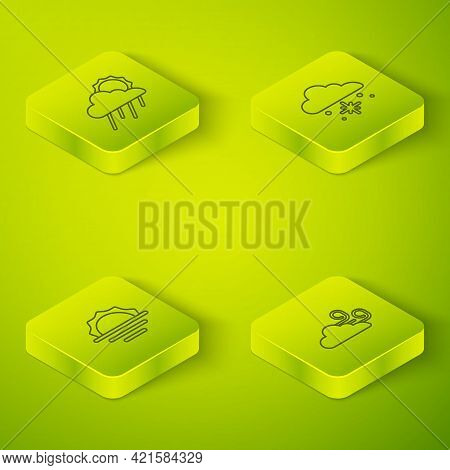Set Isometric Line Cloud With Snow, Sunrise, Windy Weather And Rain And Sun Icon. Vector