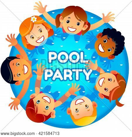 Pool Party Invitation Template Banner. Multiracial Children Have Fun In Pool. Children Playing Raisi