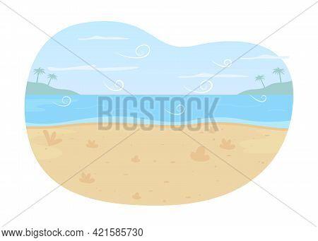 Ocean Beach 2d Vector Web Banner, Poster. Summer Seascape Flat Scenery On Cartoon Background. Scenic