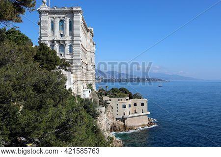 Monaco-ville, Monaco - February 20, 2021: Oceanographic Museum Building (musée Océanographique) With