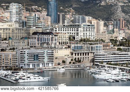 La Condamine, Monaco - February 20, 2021: Beautiful Aerial View Of Luxurious Skyscrapers, Buildings