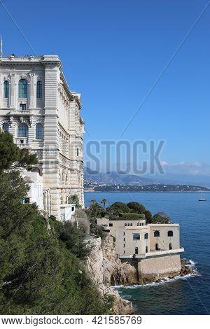 Monaco - February 20, 2021: Oceanographic Museum Building (musée Océanographique) With A Beautiful V