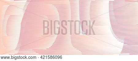 Futuristic Abstract Beauty Banner With Striped Rounded Shapes In Pink Beige Halftones And Moir Effec