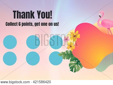 Composition of thank you text with six dots for loyalty stamps with flamingo and exotic pattern. loyalty card and savings concept digitally generated image.