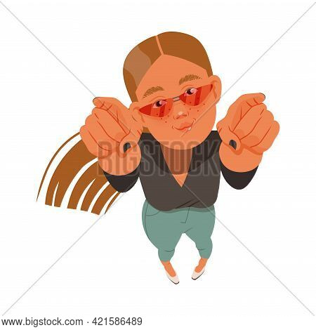 Smiling Freckled Woman In Sunglasses Looking Up Watching At Something And Pointing Fingers Above Vie