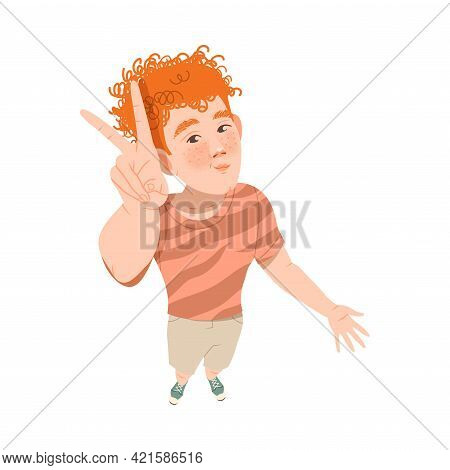 Redhead Smiling Freckled Man Looking Up Watching At Something And Showing V Gesture Above View Vecto