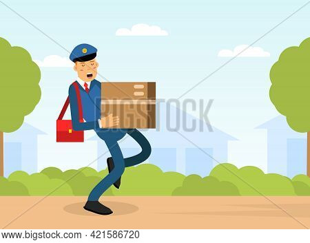 Mail Carrier Or Mailman As Employee Of Postal Service Delivering Mail And Parcel To Residence Vector