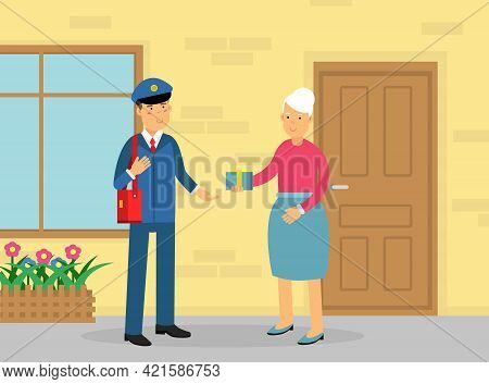 Mail Carrier Or Mailman As Employee Of Postal Service Delivering Gift Box To Senior Woman Vector Ill