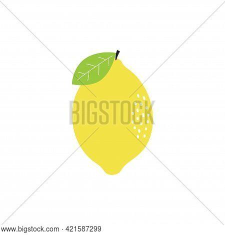 Fresh Lemon Fruits With Leaf Isolated On White Background, Whole Yellow Lemon, Citrus For Lemonade J