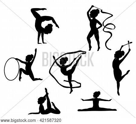 Silhouettes Of Girl, Children At Dance, Aerobics, Shaping. Gymnast With Ribbon And Hoop. Girl Gymnas