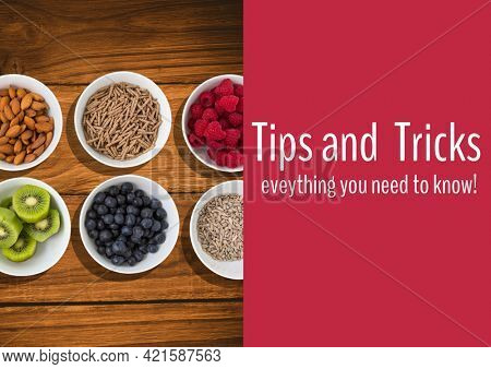 Composition of tips and tricks text with bowls of food background. advice and cookery concept digitally generated image.