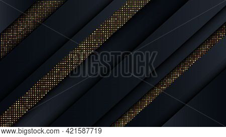 Abstract Luxury Geometric Background With Gold Glitter Holiday Invitation Template Vector Background