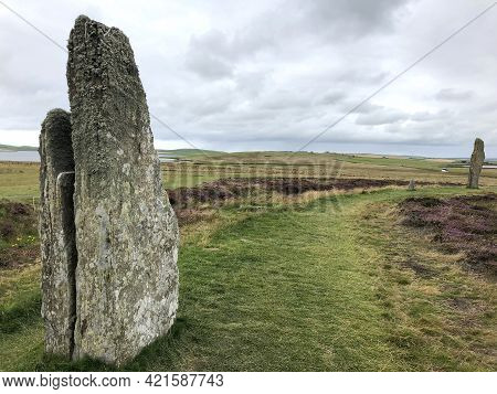 Ring Of Brodgar On Cloudy Day Close Up
