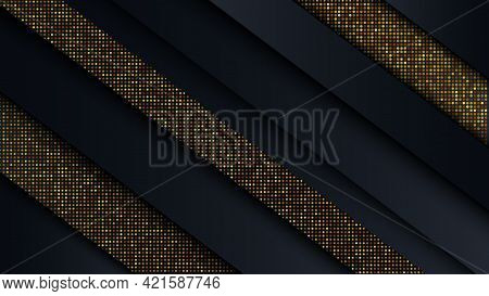 Abstract Geometric Line Background With Shadows And With Golden Glitter Effect. Vector Background