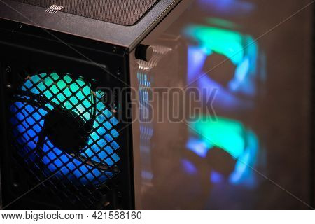 Blue Illumination Of A Cooler Pc System Unit. Computer Fan With Led Illumination. Backlight. Cooler.