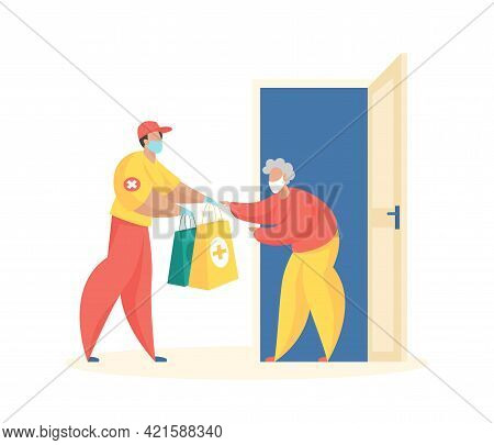 Social Home Delivery For Elderly. Courier In Uniform And Mask Hands Over Packages Medicines And Food