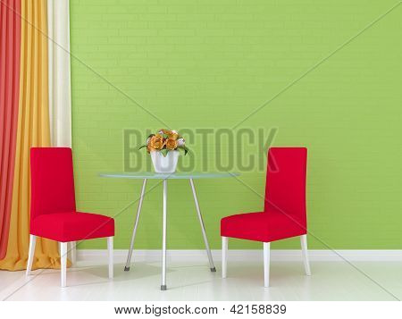 Pink Chairs Against The Green Wall