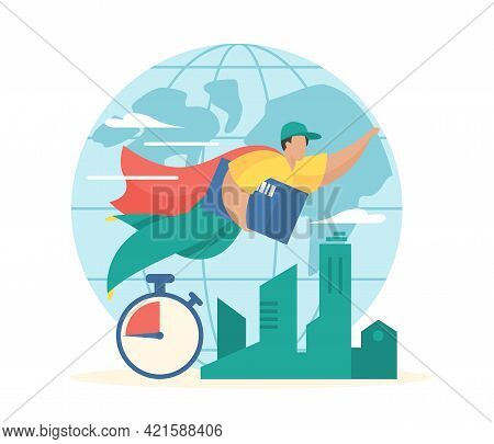 Global Express Delivery. Superhero Courier In Cape Flies With Parcel To Customer. Worldwide Fast Log