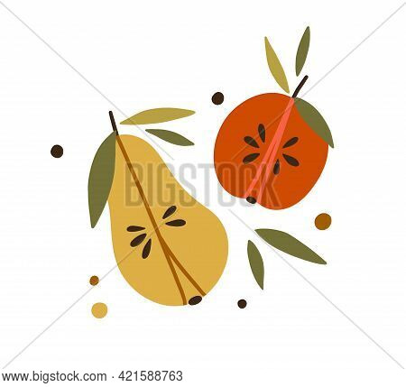 Apple And Pear Halves With Leaf. Composition Of Fruit Sections With Flesh, Seeds, Stems, And Leaves.