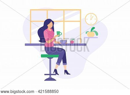 Girl Having Lunch During Break In Cozy Dining Room. Beautiful Girl In Suit Drinks Coffee While Sitti