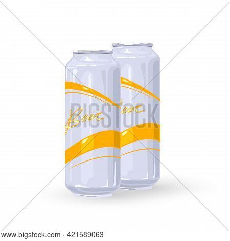 Cartoon Bunch Of Lager Or Light Beer Drink. Vector Shipment To Stores, Alcohol Transport, Night Club