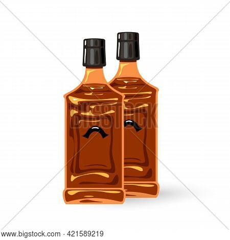 Cartoon Premium Brandy For Restaurants And Bars. Vector Alcohol Transport To Stores, Markets And Nig
