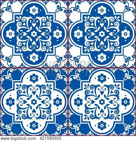 Azulejo Tiles Seamless Vector Pattern In Navy Blue And White, Traditional Floral Design Inspired By