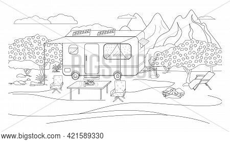 Residential Trailer Trailer Coloring Book For Family Travel. Illustration Of A Parking Lot For A Mot