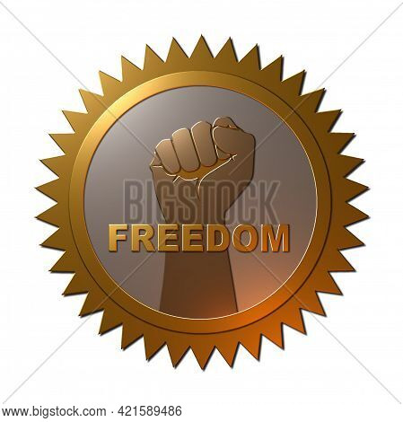 A 3d Rendered Illustration Of A Metallic Textured Gold Medal With A Fist In The Air And Text