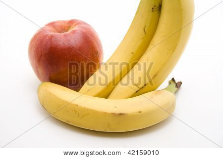 Yellow Banana with Red Apple