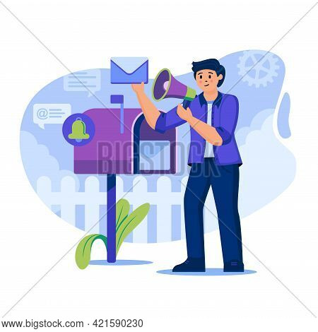 Email Marketing Concept. Man Marketer With Megaphone Attracting New Customers. Advertising Mailing A